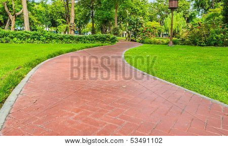 Brown Stone Walkway In The Tropical Park
