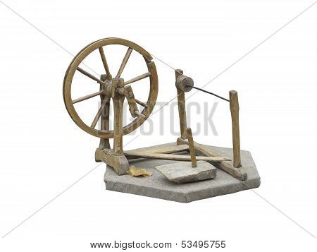 Old manual wooden spinning-wheel distaff isolated on white background poster