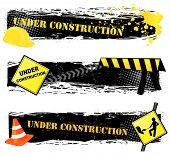 Under construction banners. Grouped and layered for easy editing. Please check my portfolio for more construction illustrations. poster