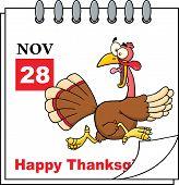 Thanksgiving Holiday Calendar With Cartoon Turkey Escape Cartoon Character poster