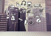 Drawn graphic on cityscape background poster