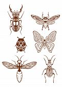 Insects tattoos in tribal style isolated on white background poster