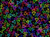 Colour triangles on a the black background poster