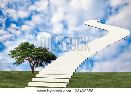 Stairs to sky with nice background for adv or others purpose use poster