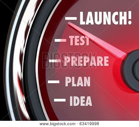Launch Word Speedometer Test Prepare Plan Idea Start New Business