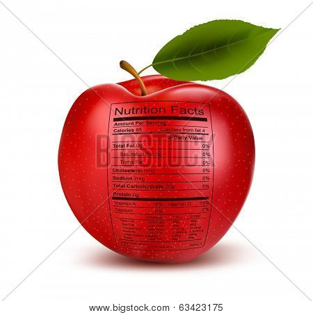 Apple with nutrition facts label. Concept of healthy food. Vector.