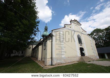 Pilgrimage Church on the hill Kremesnik in the Czech Republic poster