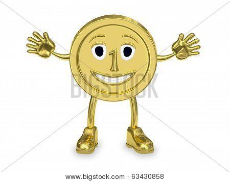 Golden Coin Represented As A Cartoon Character