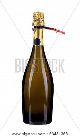 Opening a bottle of champange with golden top