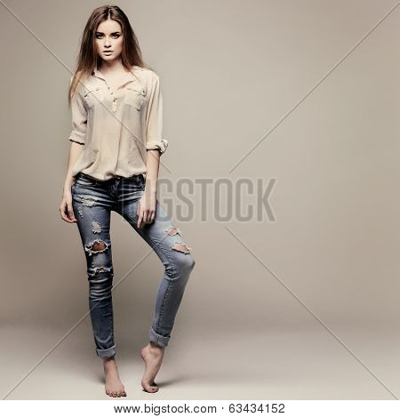 A photo of beautiful girl is in fashion style, glamour