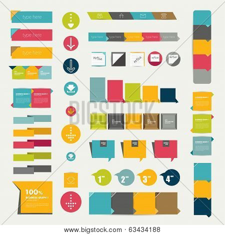 Collections of infographics flat design diagrams. Various color schemes, boxes, ribbons, speech bubb