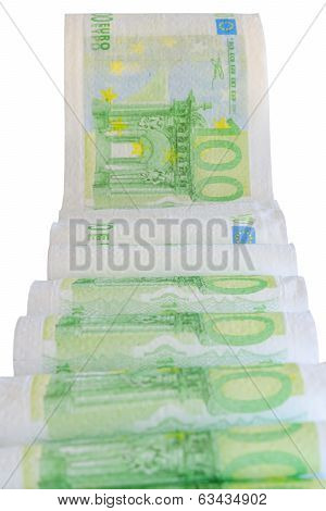 European Currency Bank Notes Printed On Toilet Paper