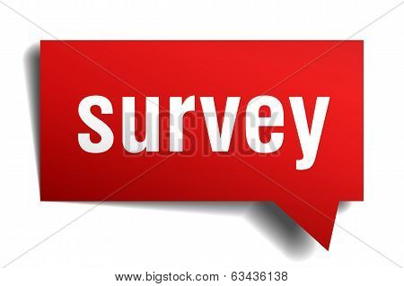 Survey Red 3D Realistic Paper Speech Bubble Isolated On White