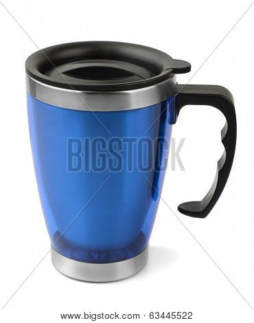 Blue thermal travel cup isolated on white