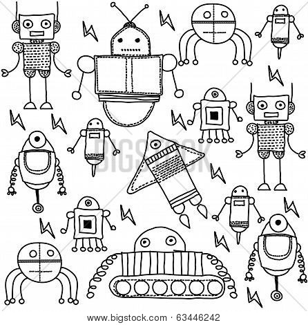 coloring cartoon robots