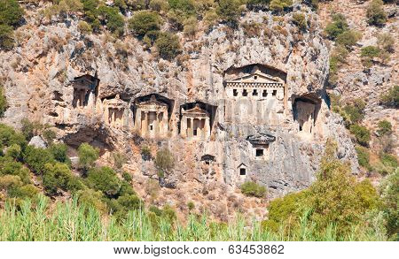 Turkish Lycian tombs - ancient necropolis in the mountains poster