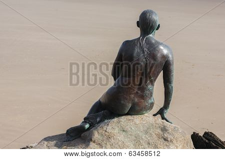 Folkestone Mermaid looking out to sea across english channel bronze statue poster