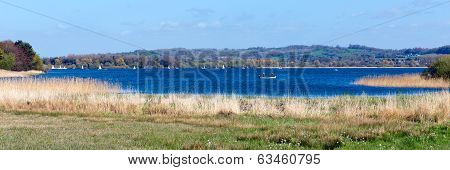 Chew Valley Lake and reservoir Somerset England an important site for wildlife birdwatching sailing and fishing poster