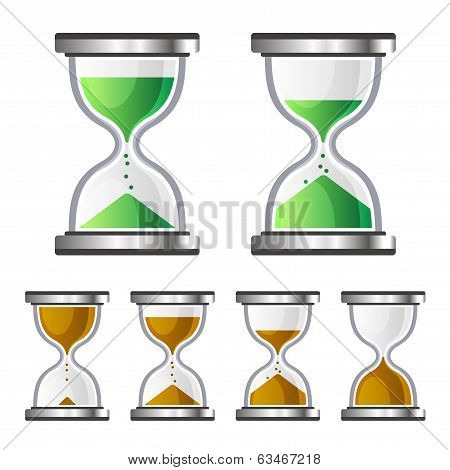 Sand Clock Glass Timer Icons on White Background. Vector