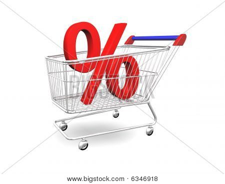 Shopping Cart With Percentage 3D