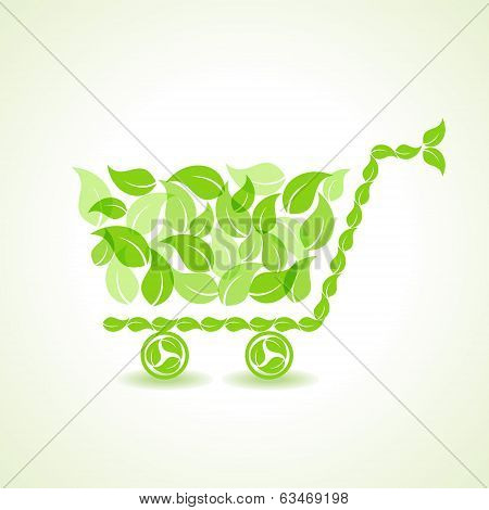 eco shopping cart with group of green leaf