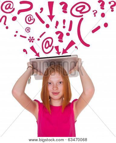 Girl with laptop on white background