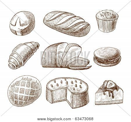 Pastry and bread decorative icons set