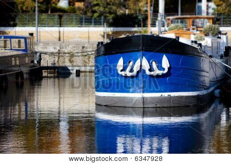 Blue Ship With White Anchors