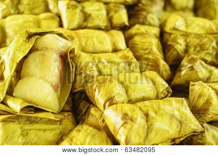 Thai Traditional Dessert Sticky Rice With Banana (kao Tom Mad)