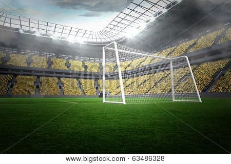 Large football stadium with lights and yellow fans poster