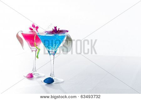 Molecular mixology - Blue swimming pool Cocktail with caviar and flower petals poster