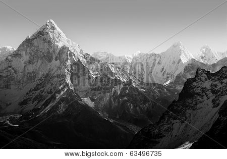 Himalaya Mountains Black And White