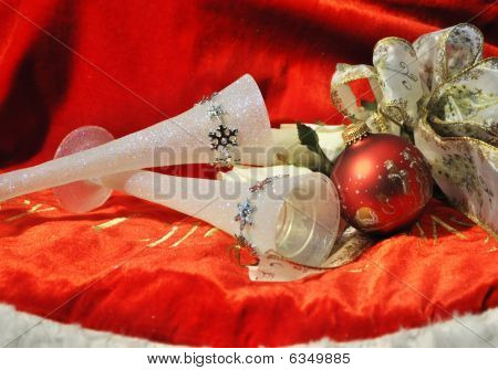 christmas vases and white roses