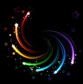 glowing sparks of all colors of the rainbow twist on a black background. poster