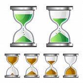 Sand Clock Glass Timer Icons on White Background. Vector illustration poster