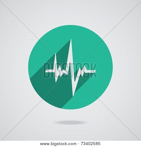 Pulse Heart Rate Vector Icon In Flat Style With Long Shadow