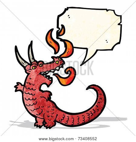 fire breathing dragon cartoon poster