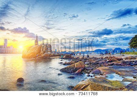Hong Kong Sunset, Yau Tong Lei Yue Mun water bay and lighthouse poster