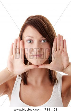 Woman Framing Her Face With Her Hands