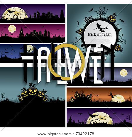Set Of Halloween Backgrounds, Banners With Art Text