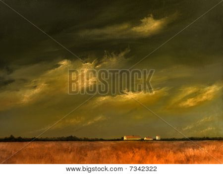 Approaching Storm On The Fields