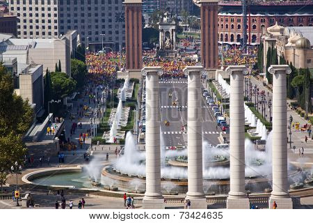 Barcelona, Spain - SEPTEMBER, 11. 2014: National Day of Catalonia, there are independentist demonstrations and cultural events all day long on September, 11, 2014 in Barcelona, Spain
