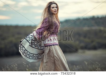 Beautiful Hippie Girl Jumping