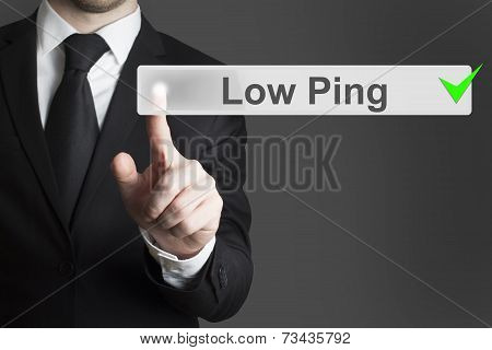Businessman Pushing Virtual Button Low Ping