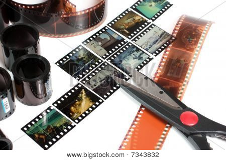 video editing of negative and positive film isolated on white background poster