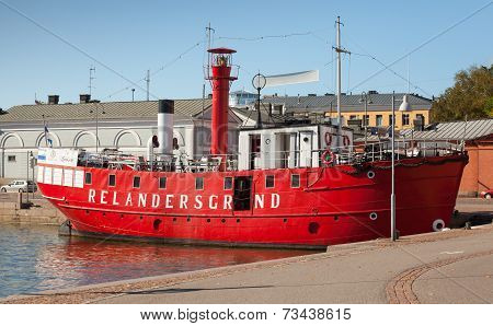 Helsinki, Finland - September 13, 2014: Historic Red Relandersgrund Lightship. The Decommissioned Fl