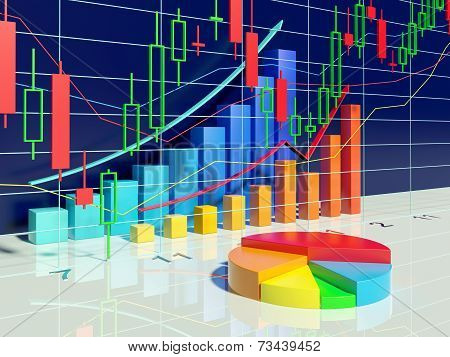 Growing Bar Graphs And Pie Chart With Stock Diagram