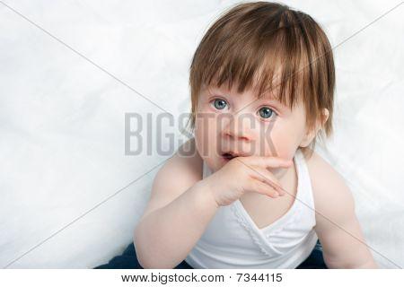 Baby Girl Portrait On White