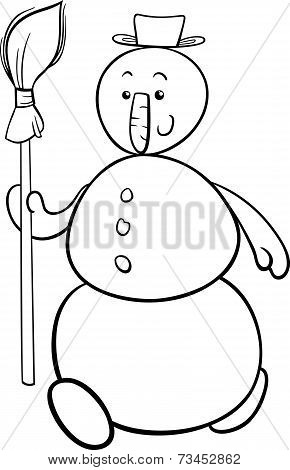Snowman With Besom Coloring Page