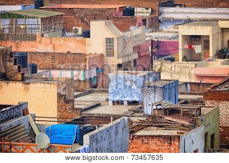 Roofs Of The Poor Houses. Agra, India